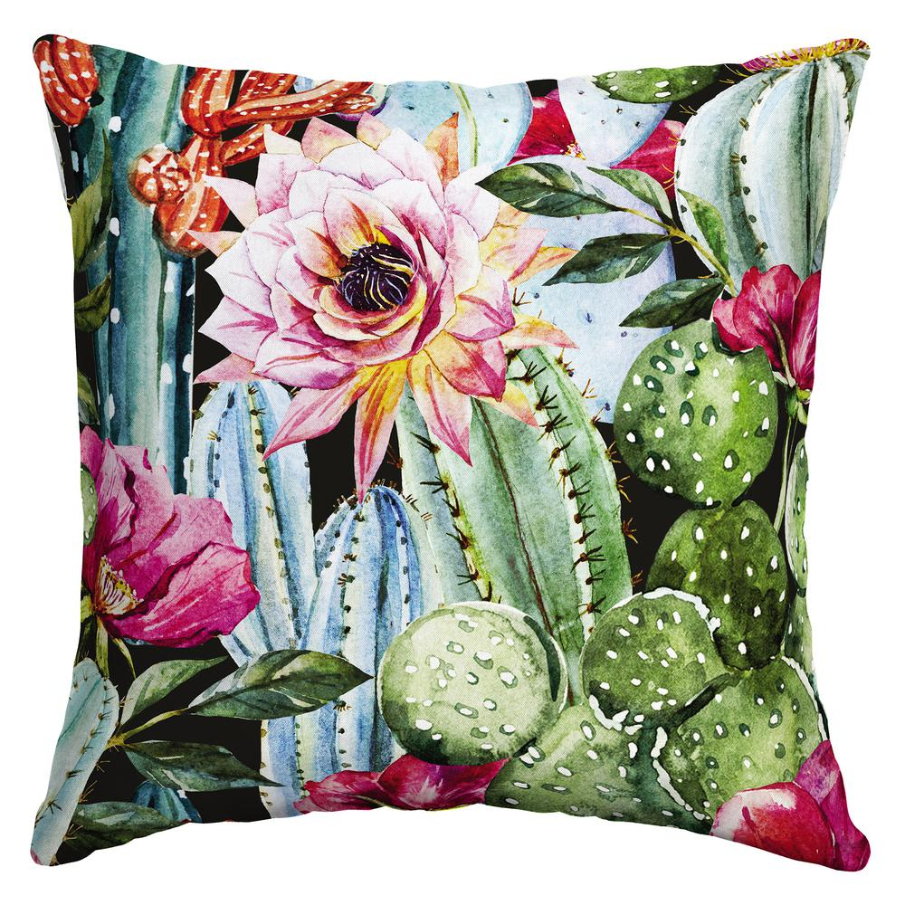 arden selections 16 x 16 pink blooming cactus square outdoor throw