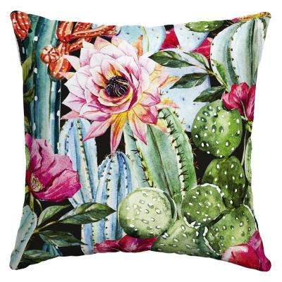 Pink Blooming Cactus Square Outdoor Throw Pillow