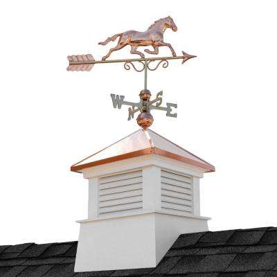 Manchester 26 in. Square x 46 in. H Vinyl Cupola with Horse Weathervane