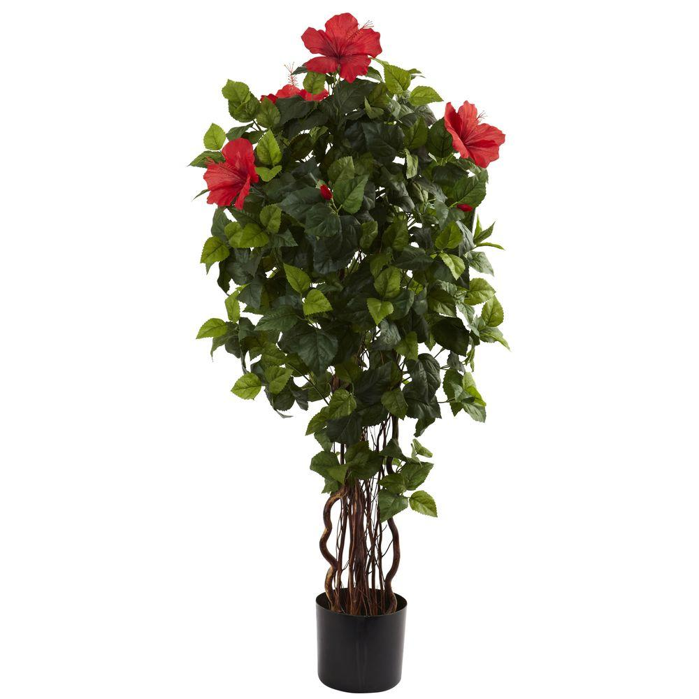 Nearly Natural 4 Ft Hibiscus Tree 5410 The Home Depot