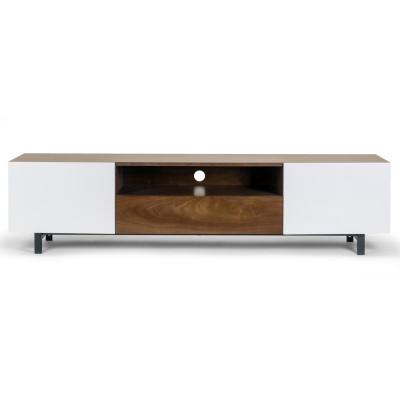 Akane 63 in. Brown and White Composite TV Stand with 1 Drawer Fits TVs Up to 113 in. with Storage Doors