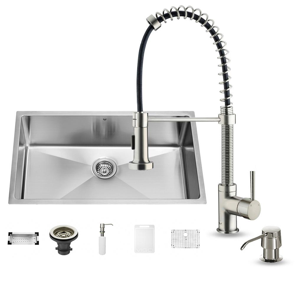 VIGO All-in-One Undermount Stainless Steel 32 in. 0-Hole Single Basin Kitchen Sink and Faucet Set in Stainless Steel