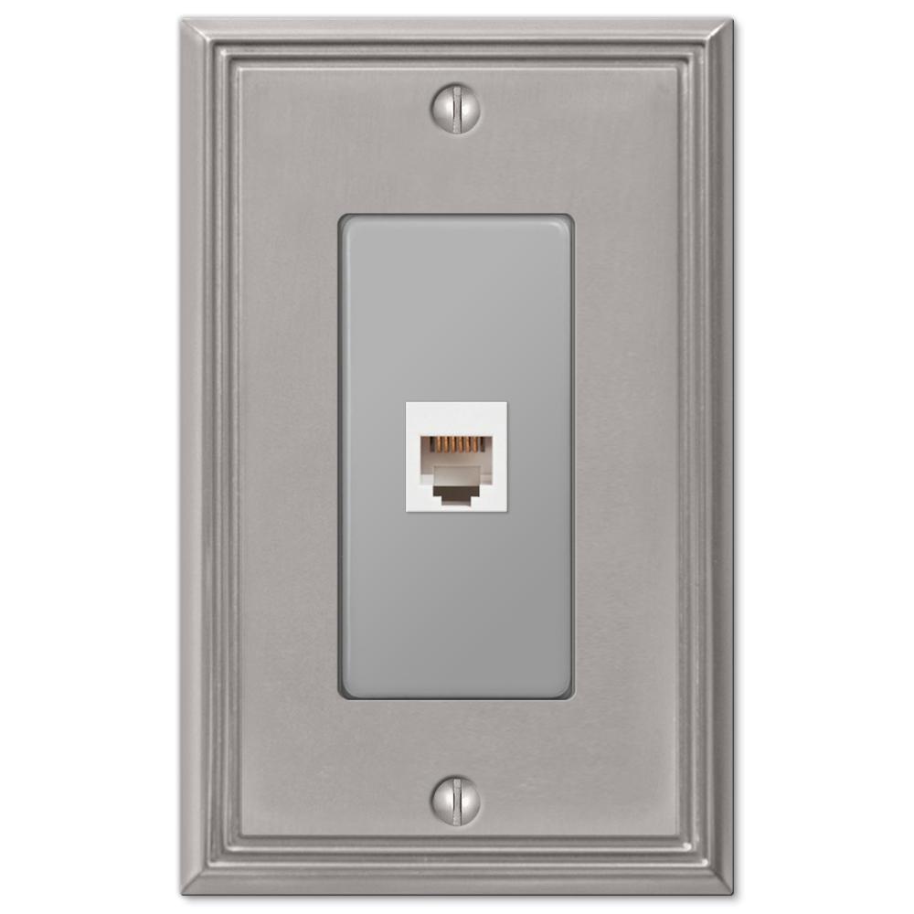Rhodes 1 Gang Phone Metal Wall Plate - Brushed Nickel