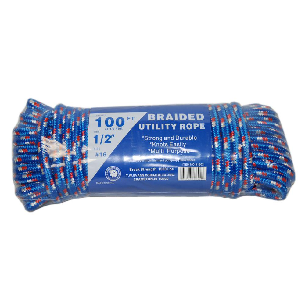 T W Evans Cordage 1 2 X 100 Ft Braided Utility Rope