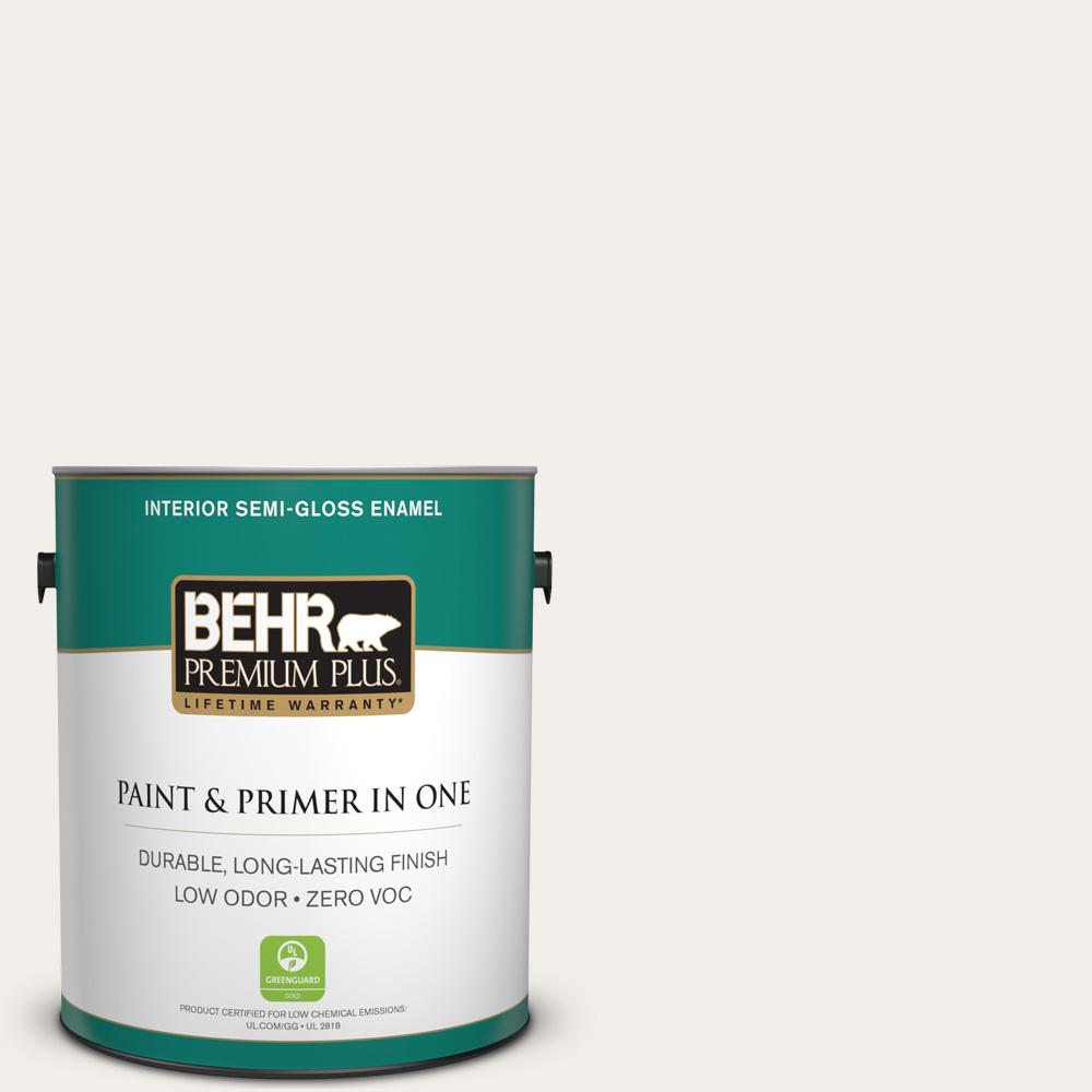 BEHR Premium Plus 1-gal. #W-F-610 White Fur Zero VOC Semi-Gloss Enamel Interior Paint