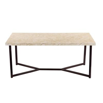 Natural Marble Top Modern Coffee Table with Black Legs