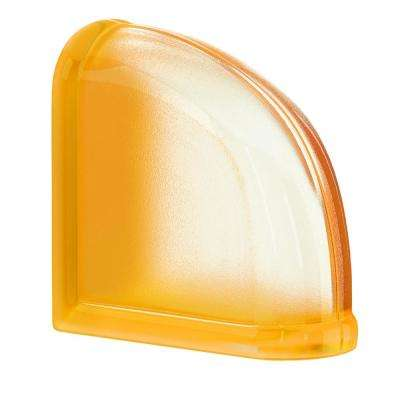 Apricot 5.75 in. x 5.75 in. x 3.15 in. Classic Yellow End Curved Glass Block