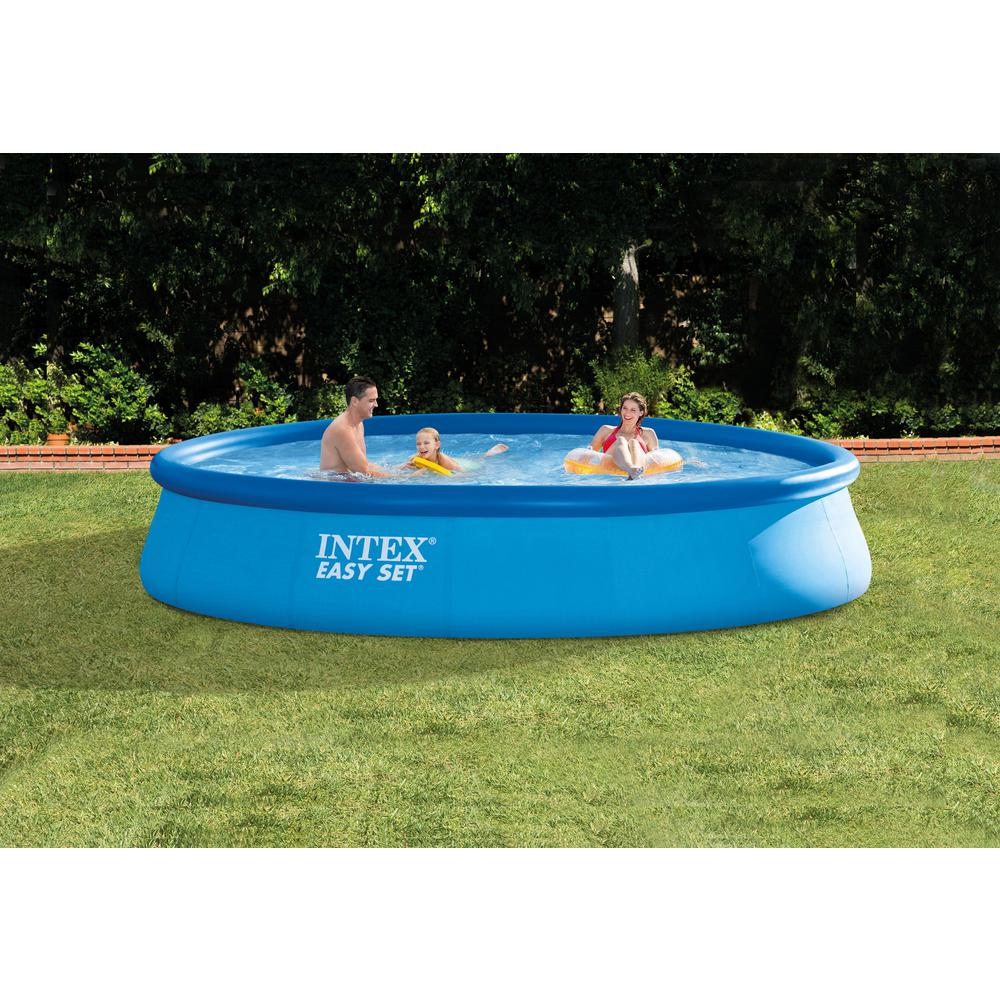Intex 13 ft. x 32 in. Deep Round Above Ground Inflatable Swimming Pool Kit,  Filter Pump and Cover