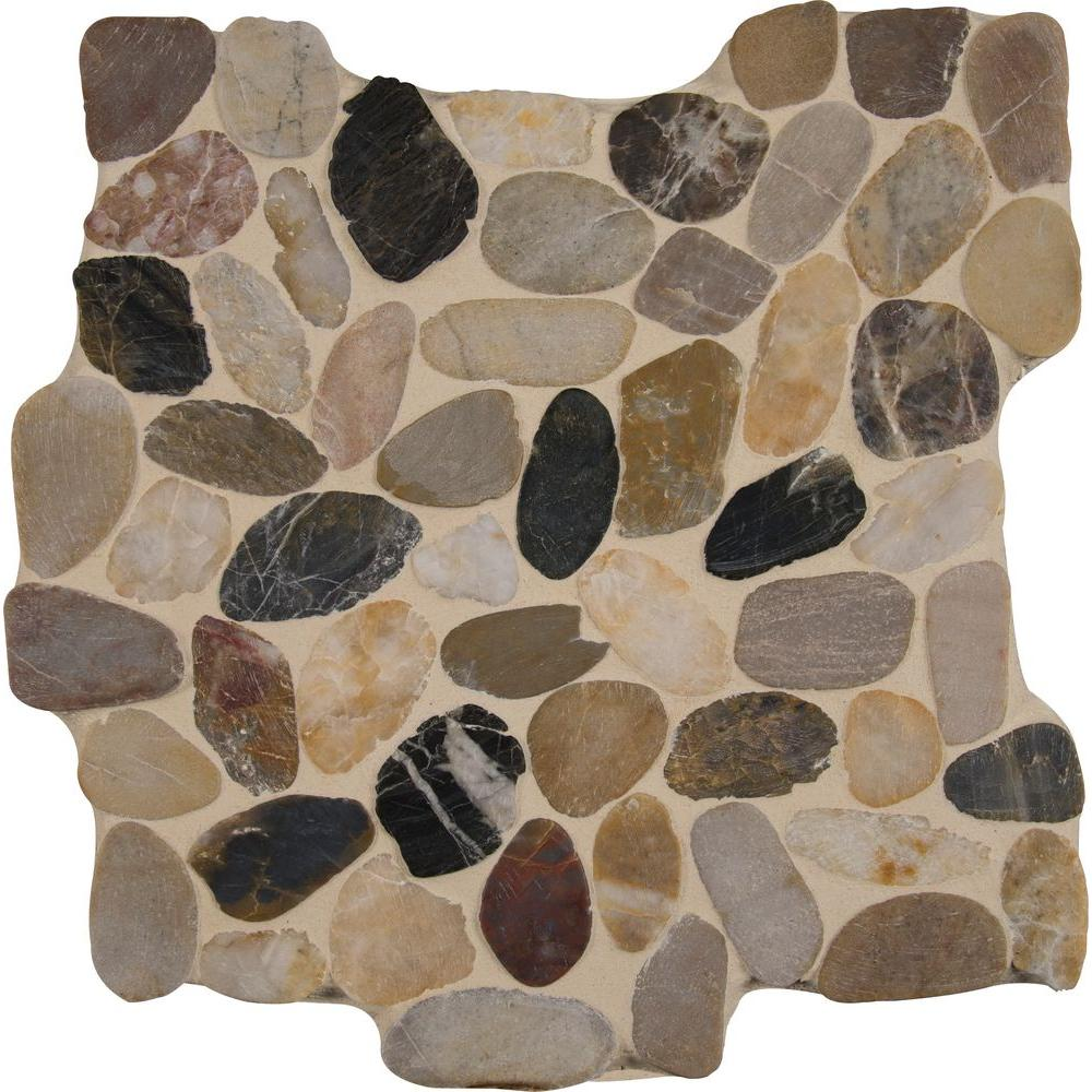 MSI Mix River Rock 12 in. x 12 in. x 10 mm Tumbled Marble Mesh ...