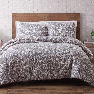 Sand Washed Cotton 3-PieceFrost Gray Full and Queen Duvet Set