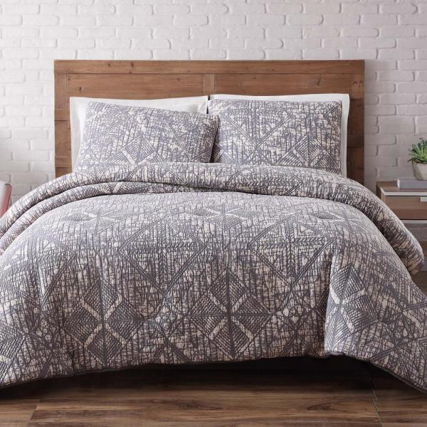 Brooklyn Loom Sand Washed Cotton 3-PieceFrost Gray Full and Queen Duvet Set