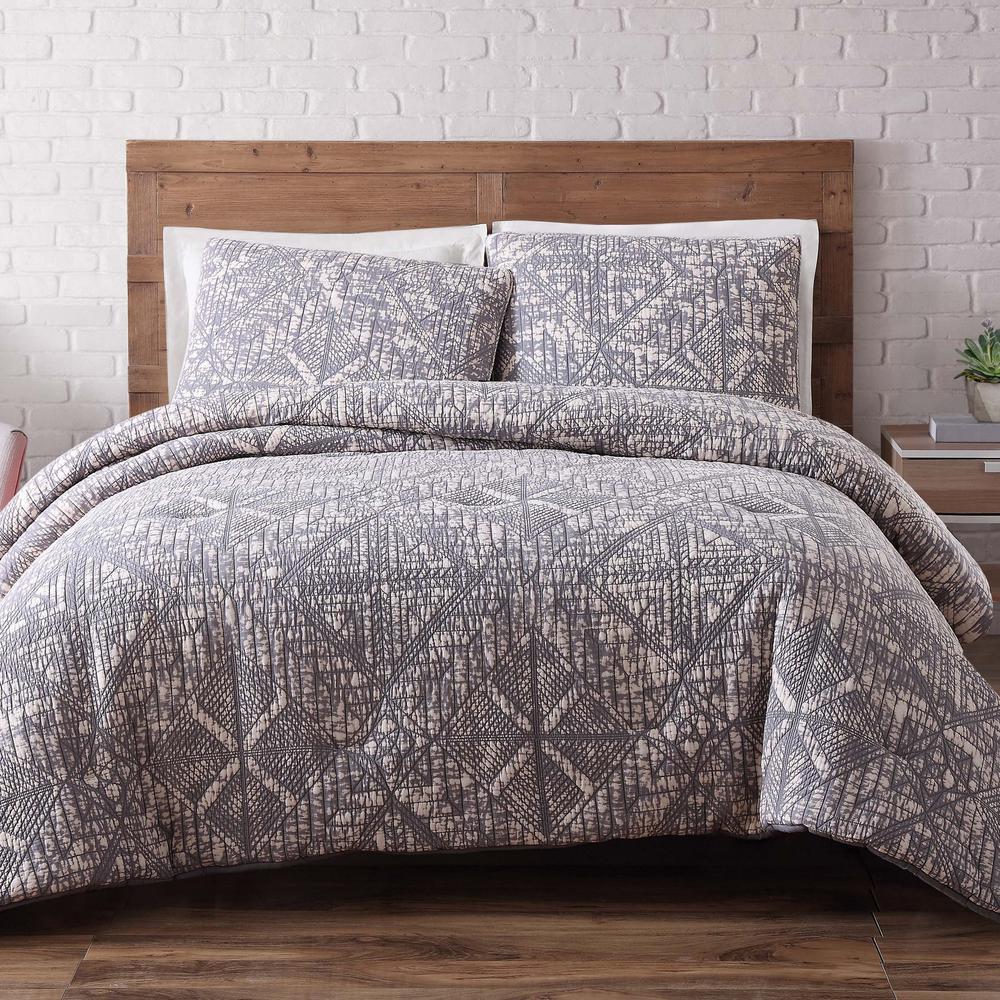 Sand Washed Frost Gray 3-Piece Gray Full and Queen Comforter with