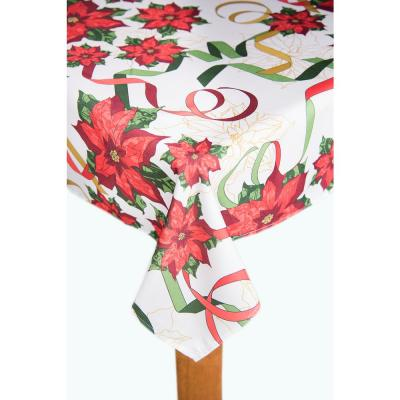 Christmas Ribbon 70 in. Multi Round 100% Polyester Tablecloth