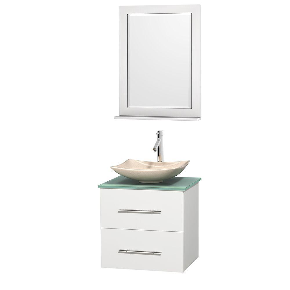 Wyndham Collection Centra 24 in. Vanity in White with Glass Vanity Top in Green, Ivory Marble Sink and 24 in. Mirror
