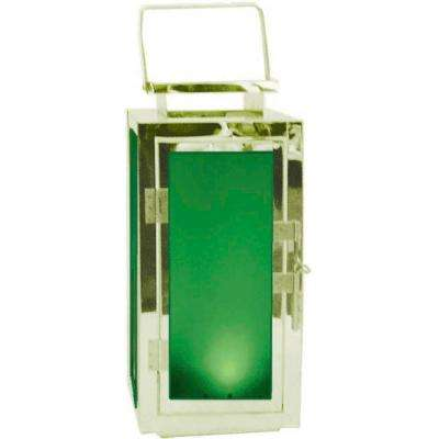 13 in. Solar Stainless Steel Lantern with Green Light