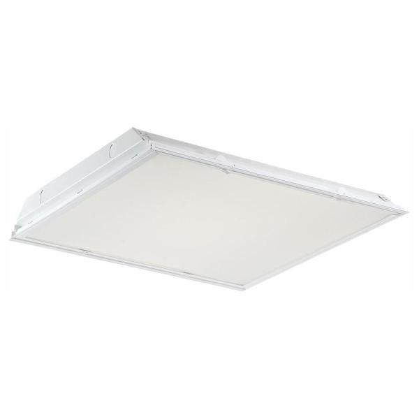 2 ft. x 2 ft. 64-Watt Equivalent White Lens Integrated LED Commercial Grid Ceiling Troffer