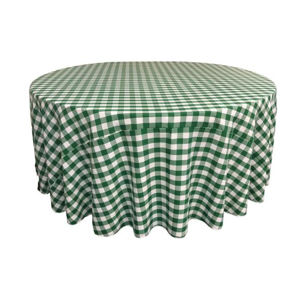 LA Linen 108 in. White and Hunter Green Polyester Gingham Checkered