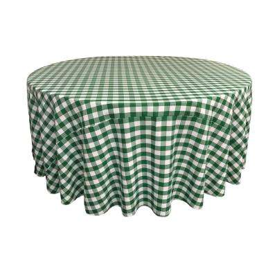 132 in. White and Hunter Green Polyester Gingham Checkered Round Tablecloth