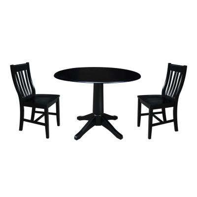 Olivia 3-Piece Black Drop-leaf Dining Set with 2-Caf Chairs
