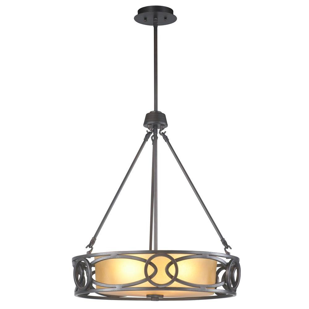 World Imports 3-Light Oil-Rubbed Bronze Pendant with Frosted Amber Glass Shade