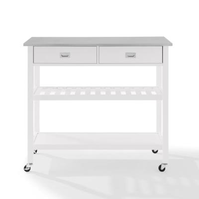 Chloe White with Stainless Steel Top Kitchen Island