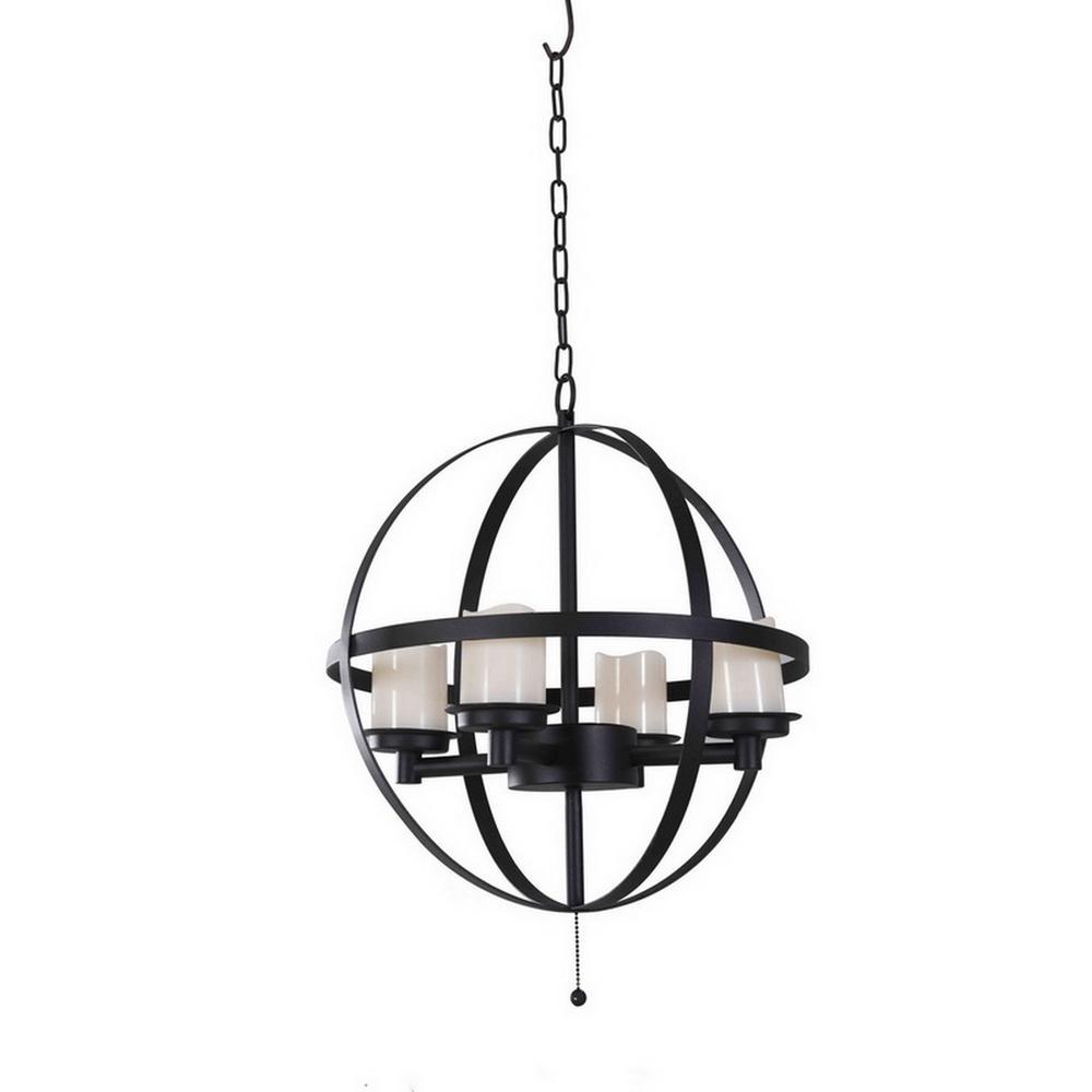 Medium 4-Light Black Battery-Operated LED Hanging Outdoor Chandelier