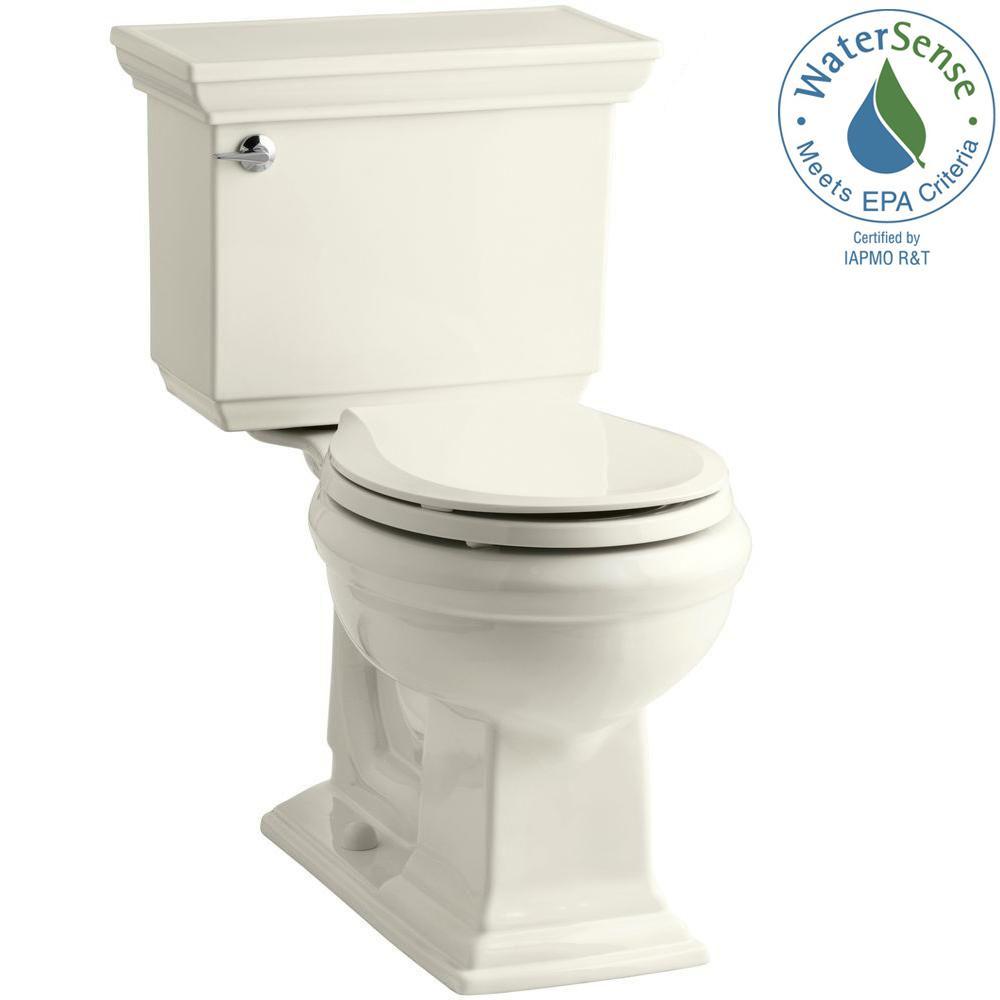 KOHLER Memoirs Stately 2-piece 1.28 GPF Round Toilet with AquaPiston Flushing Technology in Biscuit