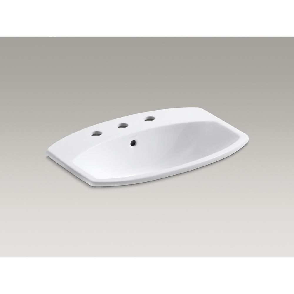 Elmbrook Drop in Vitreous China Bathroom Sink in White