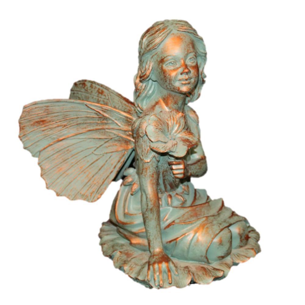 14 in. Fairy Gabriella Bronze Patina Collectible Garden Statue