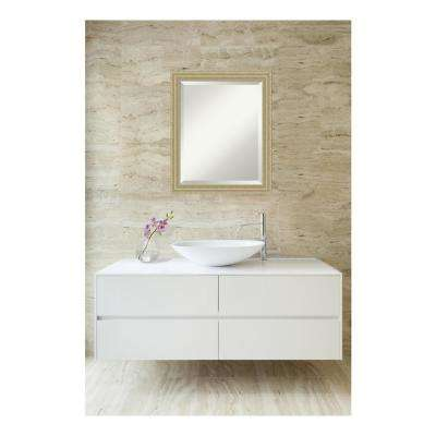 Champagne Teardrop Wood 19 in. W x 23 in. H Single Traditional Bathroom Vanity Mirror