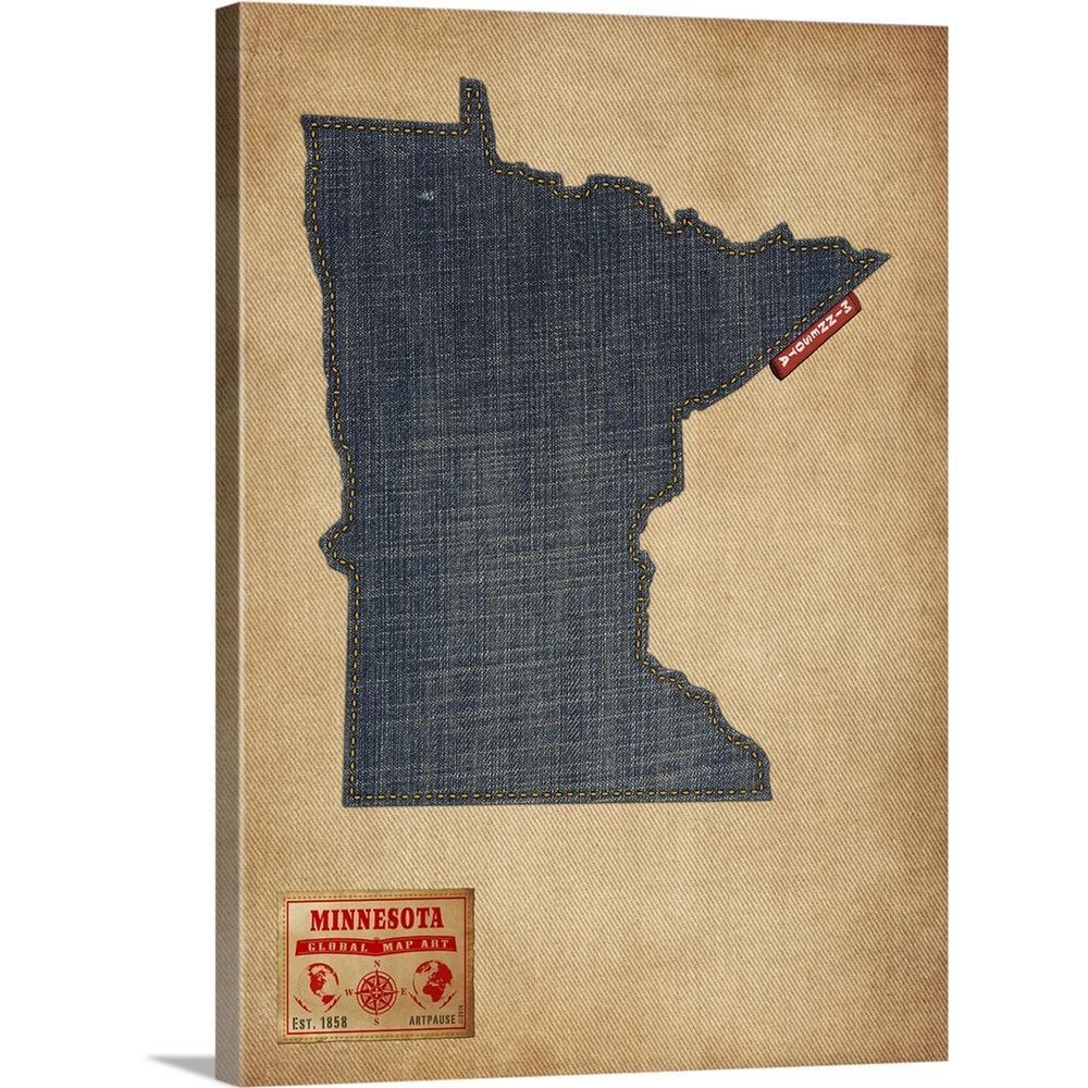 Marvelous Minnesota Map Denim Jeans Style By Michael Tompsett Canvas Wall Art Download Free Architecture Designs Rallybritishbridgeorg