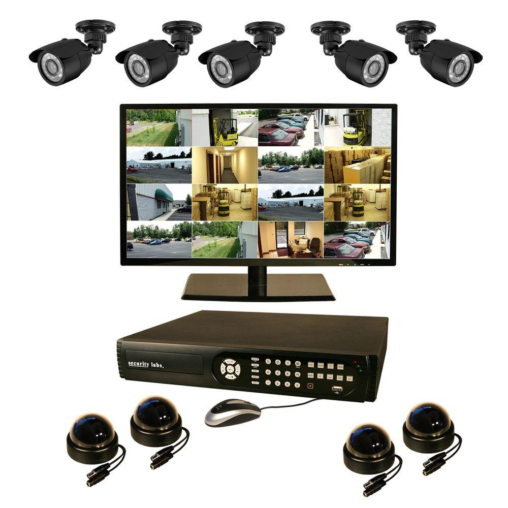 Security Labs 16 CH 3 TB Surveillance System with 9 High-Res Cameras and 22 in. LED Monitor-DISCONTINUED
