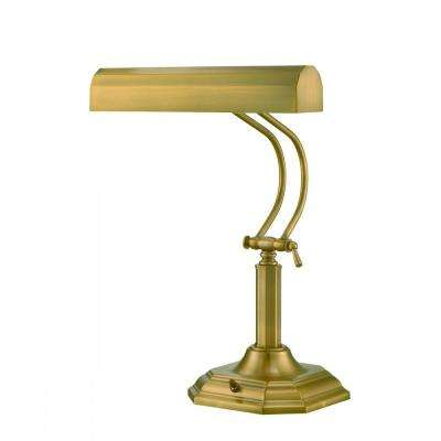20 in. 2-Light Antique Brass Table Lamp