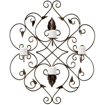 32.3 in. Votive Wall Decor in Brown