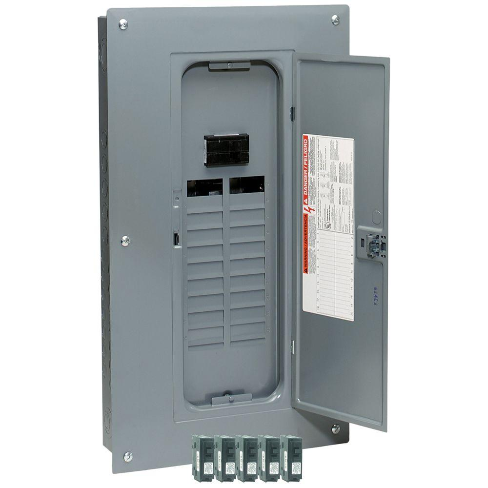 Square D Homeline 100 Amp 20-Space 20-Circuit Indoor Main Breaker Load Center with Cover Value Pack