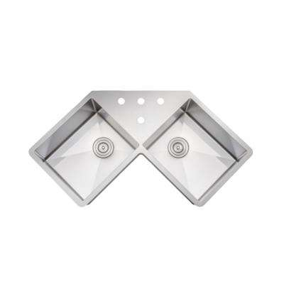New Chef's Collection Handcrafted Undermount Stainless Steel 46 in. 4 Holes 50/50 Double Bowl Kitchen Sink with faucet