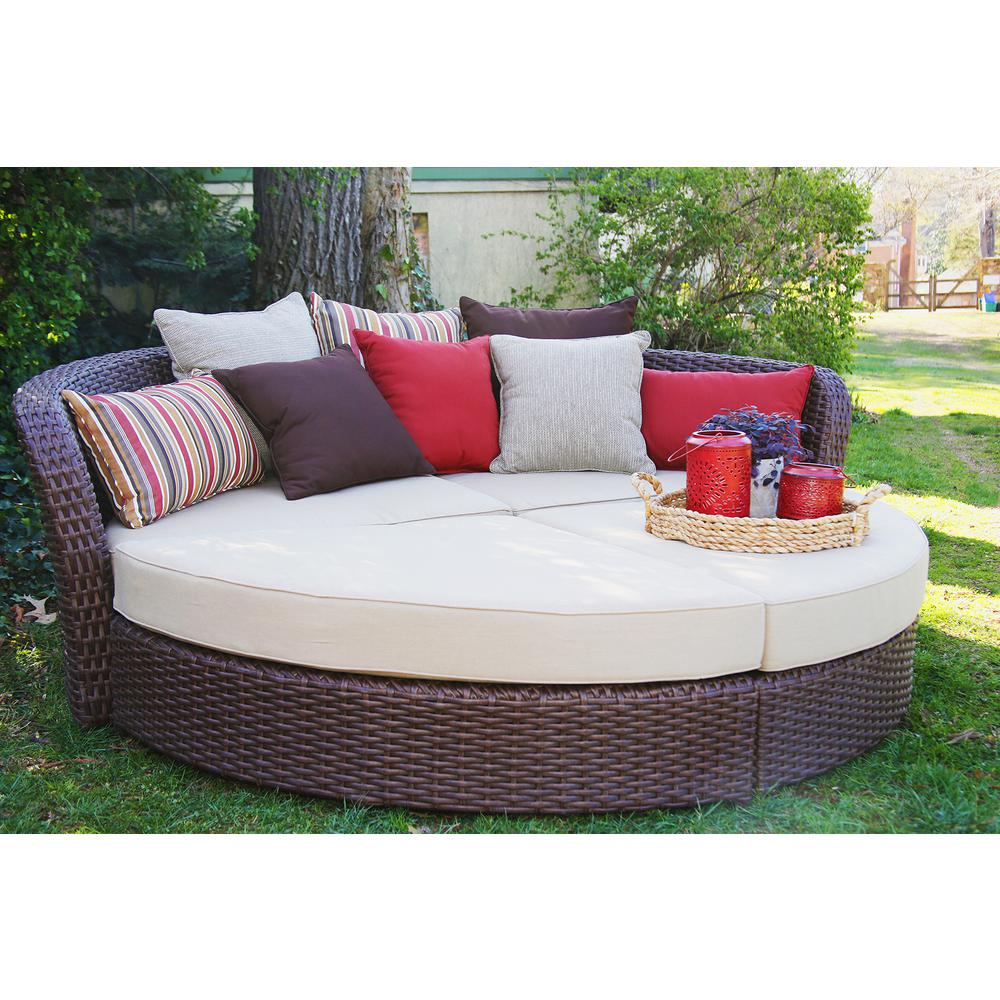 Ae Outdoor Wicker Outdoor Day Bed Tan Cushions