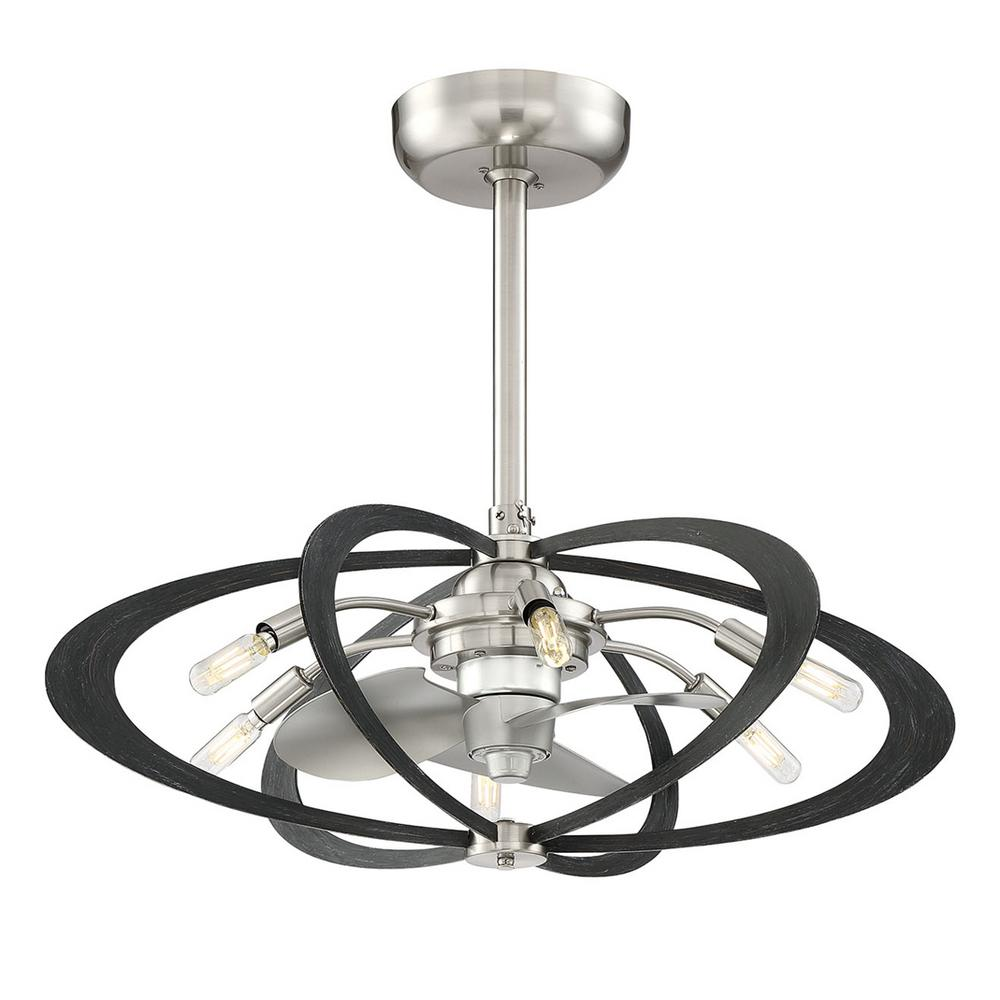Fifth and Main Lighting Aspect 27.5 in. Indoor Brushed Nickel with Wood Grain Ceiling Fan with Light and Remote Control