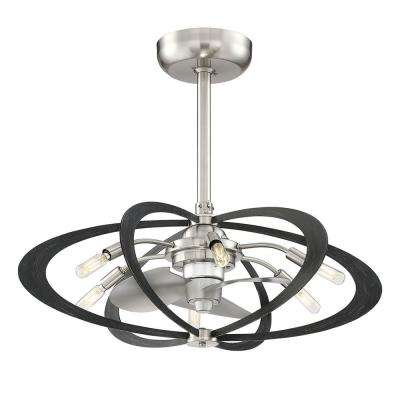 Aspect 27.5 in. Indoor Brushed Nickel with Wood Grain Ceiling Fan with Light and Remote Control