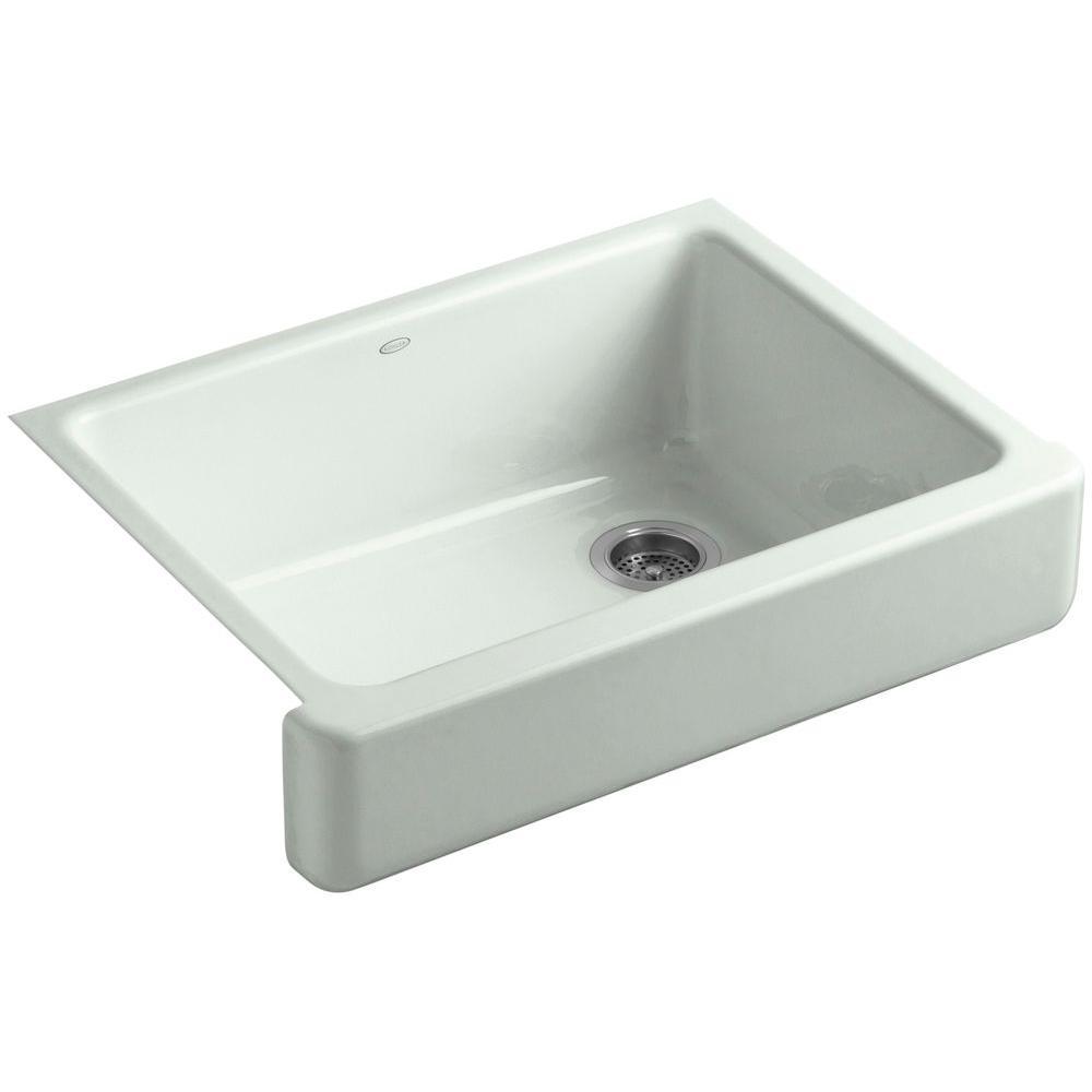 KOHLER Whitehaven Undermount Farmhouse Short Apron-Front Cast Iron 30 in. Single Bowl Kitchen Sink in Sea Salt