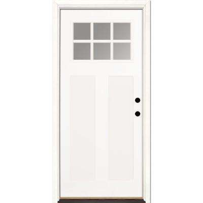 33.5 in. x 81.625 in. 6 Lite Clear Craftsman Unfinished Smooth Left-Hand Inswing Fiberglass Prehung Front Door