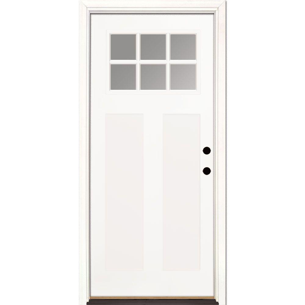 Feather River Doors 36 in  x 80 in  6 Lite Clear Craftsman Unfinished  Smooth Left-Hand Inswing Fiberglass Prehung Front Door