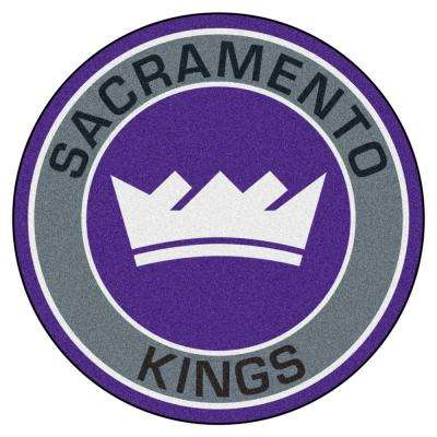 NBA Sacramento Kings Gray 2 ft. 3 in. x 2 ft. 3 in. Round Accent Rug
