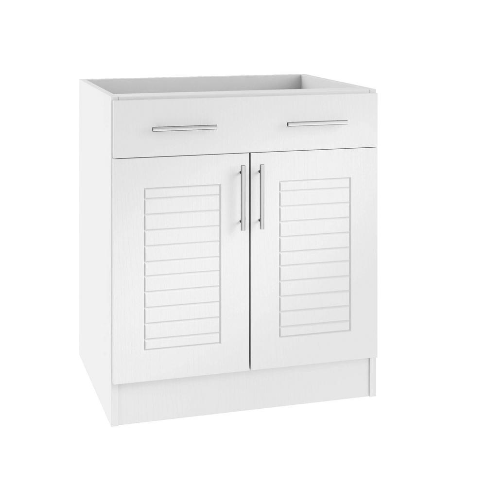 WeatherStrong Assembled 24x34.5x24 in. Key West Open Back Outdoor Kitchen Base Cabinet with 2 Doors and 1 Drawer in Radiant White