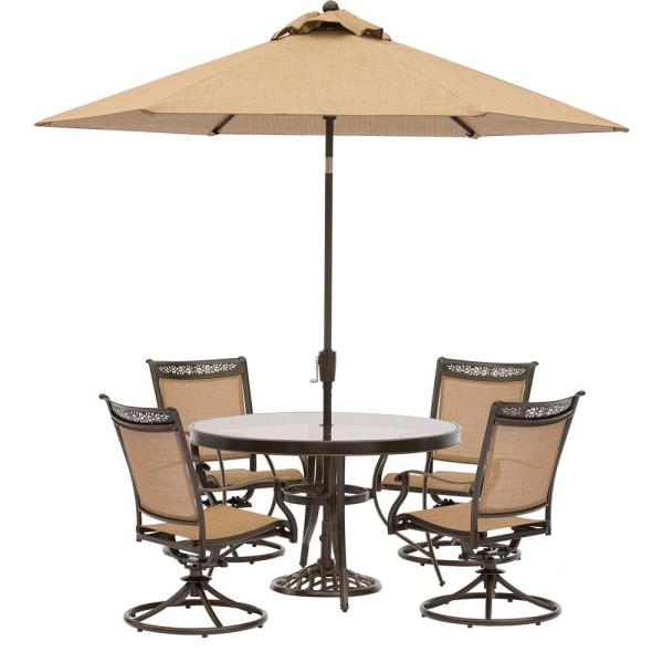 Fontana 5-Piece Aluminum Round Outdoor Dining Set with Swivels, Cast-Top Table, Umbrella and Base