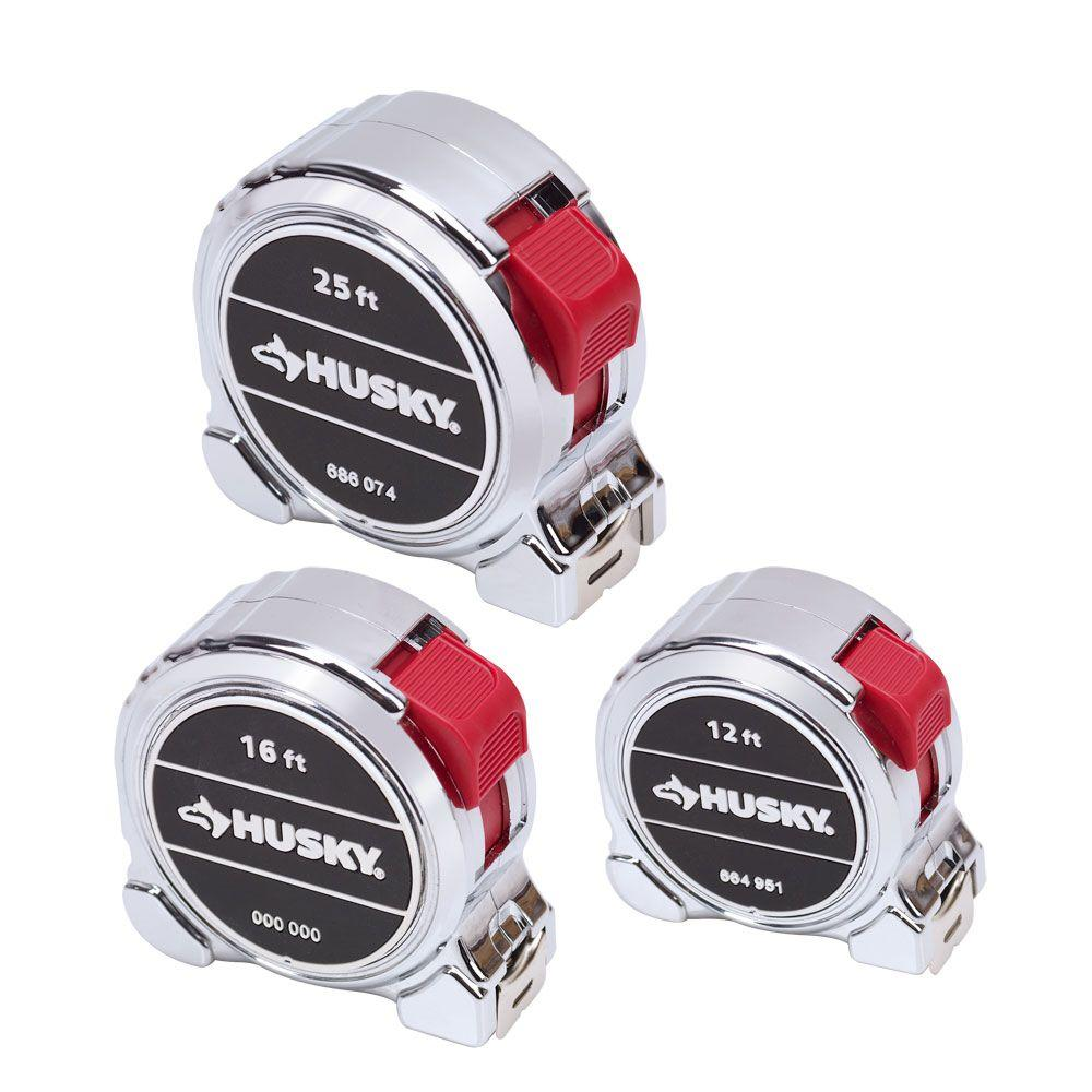 Husky 3-Pieces Chrome Tape Measure Set