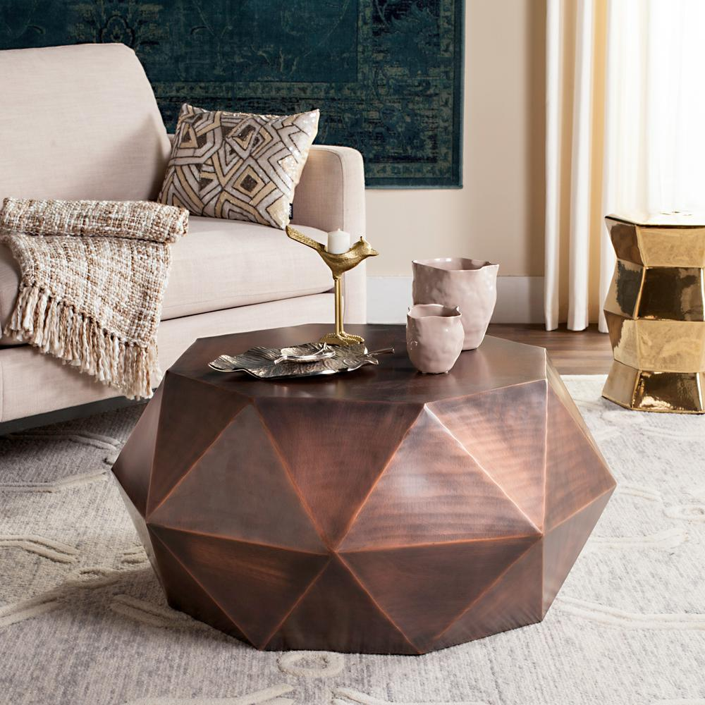 Safavieh Astrid Faceted Copper Coffee Table FOX3223B The Home Depot