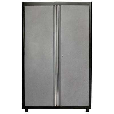 72 in. H x 46 in. W x 24 in. D Welded Steel Floor Freestanding Cabinet in Black/Multi-Granite