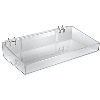 16 in. W x 8 in. D x 3 in. H Clear Crystal Styrene Open Tray (2-Pack)