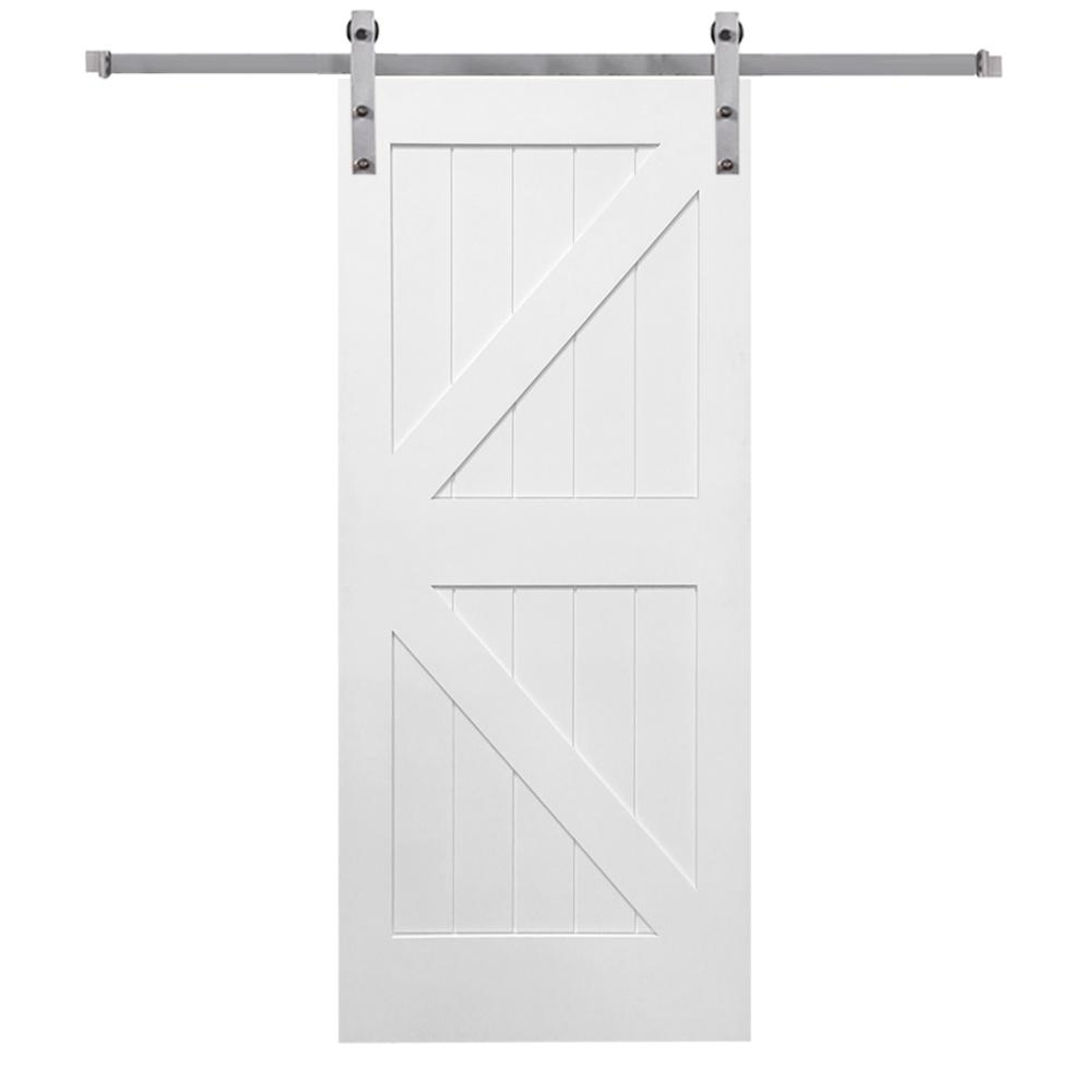 36 in. x 84 in. Primed K-Plank MDF Barn Door with